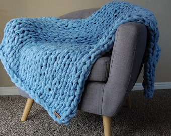 Arm Knit Blanket, Throw Blanket, Knit Throw Blanket, Vegan Blanket, Chunky Blanket, Giant Knit Blanket, Chunky Throw, Chunky Knit Blanket,