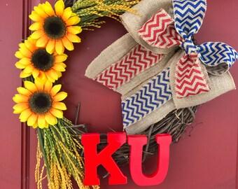 KU Wreath | Jayhawks Wreath | Kansas Wreath