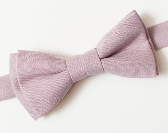 Dusty Rose bow tie Groom bow tie Wedding bow tie For him Linen bow tie Wedding necktie Mens gift Boyfriend gift Ring Bearer Necktie