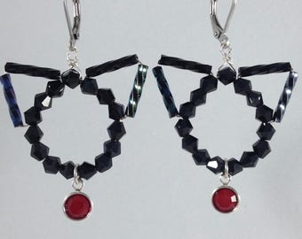 July's Ruby Birthstone Dangle Kitties, Cat Earrings in Black by The Elven Cat