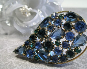 Deep blue paisley rhinestone brooch