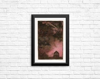 House in a Storm, Pink and Brown, Intaglio Print