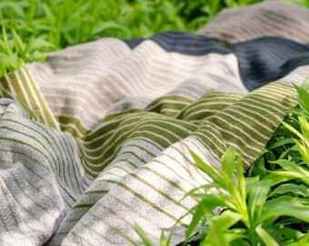 Handwoven shawl,  wool bed throw, handwoven blanket, stripy shawl, handwoven wool wrap, blue green shawl, beige wool shawl, green shawl