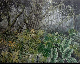 "Acrylic painting, landscape of tropical forest, trees and plants, ""Amazonian paradise"""