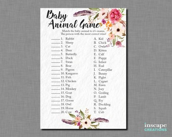 Boho Baby Animal Name Game Printable, Bohemian Flowers Feathers Match Baby Animal Game Floral Rustic Flower Feather Country Baby Shower Game