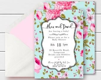 Shabby Chic Baby Shower Invite, Vintage baby Shower Invite, Shabby Chic Invitation, Printable baby Shower Invites, Floral Baby Shower