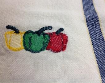 Woven Garden Peppers dish towel