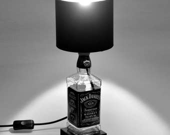 Jack Daniels - Upcycled - Decorative - Bottle Lamp - with Black Lamp Shade and Base