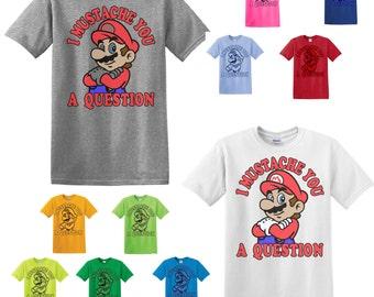 I Mustache A Question t-shirt, Super Mario fabric t-shirt
