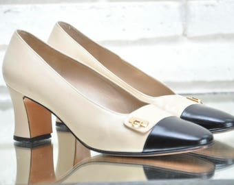 Vintage Beige and Black Leather Cap Toe Salvatore Ferragamo Pumps Classic Women's High Heels Size 7.5 Two Tone Spats