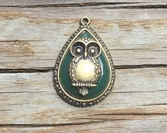 Green & Bronze Colored Teardrop Owl Pendant