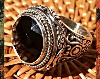 BLACK ONYX Silver Ring/Bali Handmade Jewelry/Bali Sterling Silver 925/Black stone/Decorated Bohemian Ring/Woman gift/Filigree jewelry