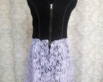 Denim and Lace Vest, Upcycled Boho Hippie Vest, Tunic Vest, Festival Clothing