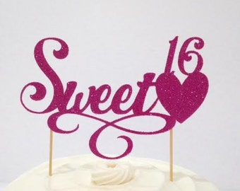 Sweet 16 Cake Topper w/a Flourish in Custom Color Glitter Cardstock /  Happy 16th