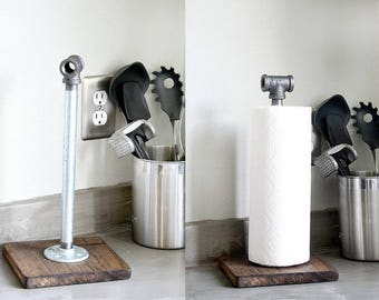 Pipe Paper Towel Holder Stand on Wood Base