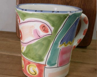 Vintage Italian made Present Tense Tickled Pink Cup Hand Painted by Elizabeth Barrett Roache