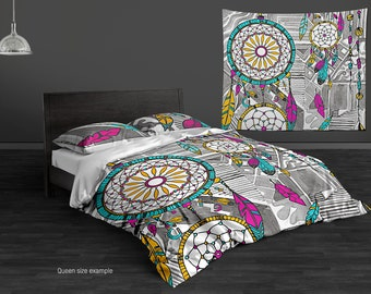Dream Catcher Hippie Bedding Set. Watercolor Duvet or Comforter Set, Single Twin Full Queen King Sets. Boho Chic Bedding.