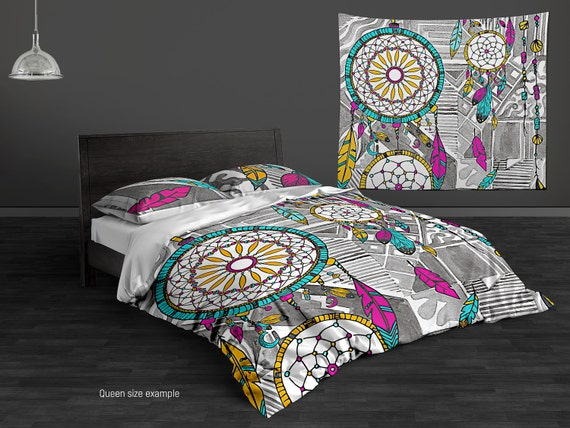 dream catcher hippie bedding set. watercolor duvet to