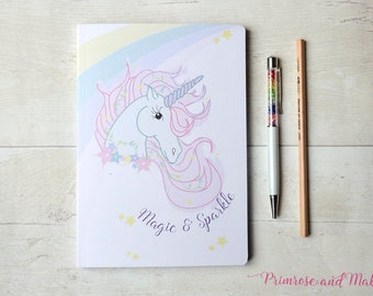 A5 Unicorn Notebook, A5 Sketchbook, Notebook, Plain Paper Notebook, Notebook Gift, Unicorn Stationery, Designer Stationery, Pattern Notebook
