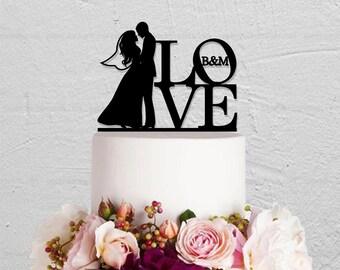 Wedding Cake Topper,Initials CakeTopper,Love Cake Topper,Kissing Couple Cake Topper,Custom Cake Topper,Bride And Groom Cake Topper