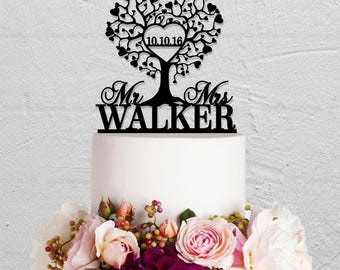 Love Tree Cake Topper,Wedding Cake Topper,Mr and Mrs Cake Topper,Last Name Cake Topper,Rustic Cake Topper,Custom Cake Topper
