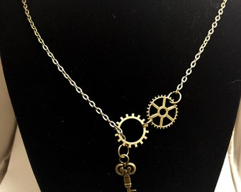 Steampunk Necklace Key Necklace Gear Necklace Key Gears Steampunk Key Necklace Steampunk Gear Necklace Bronze Necklace Bronze Chain
