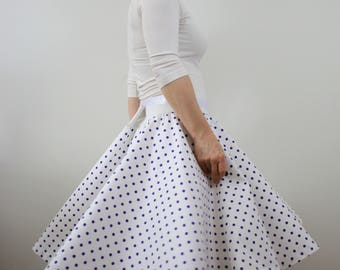 White purple rockabilly skirt, polka dot skirt, full circle skirt, summer skirt, 1950s skirt, cotton skirt, knee length skirt, swing skirt