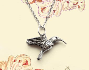 "Colibri pendant. Pendant ""hummingbird"" made from albata on chain"