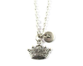 CROWN charm necklace, silver crown necklace, initial necklace, personalized necklace, initial jewelry, personalized jewelry, gift for her