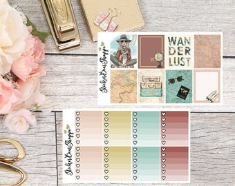 Wanderlust Weekly Kit Planner Stickers - For Erin Condren Life Planner or Happy Planner