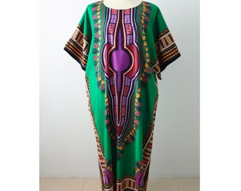 African Dashiki Dress, Multicolor Tribal Print Dress - Green
