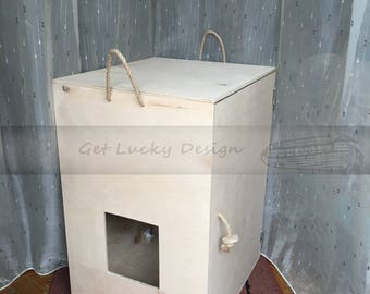 Cat Litter Box Cover,Cat House and End Table with Interior Shelf,Rustic Litter Box Cabinet, Cat House with Storage,Demountable Pet House