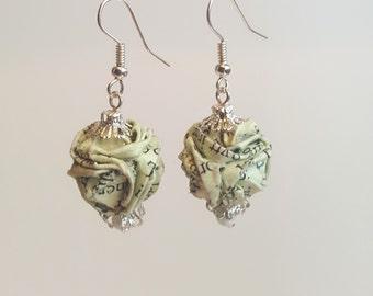Pale green origami earrings  |  Book Paper earrings  |  Upcycled Origami Earrings
