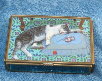 Vintage Bronze Sleeping Cat Mirrored Trinket Box