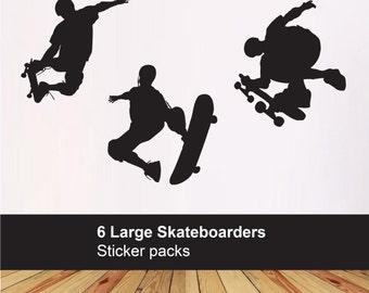 Pack of 6 Skateboarders - kids bedroom playroom - kids vinyl skateboard decals - Nursery wall decals - Wall sticker
