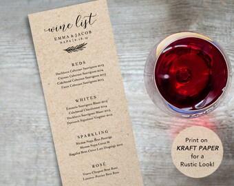 Wine list etsy wine menu printable wedding wine list template drink menu bar diy wine junglespirit Image collections
