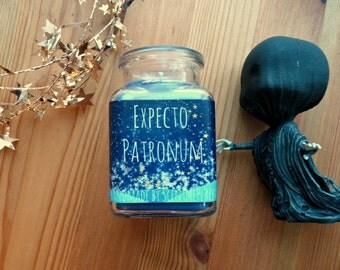Harry Potter Candle, Patronus soy candle, medium Harry Potter themed, jar candle, scented soy candle, book candle, personalized