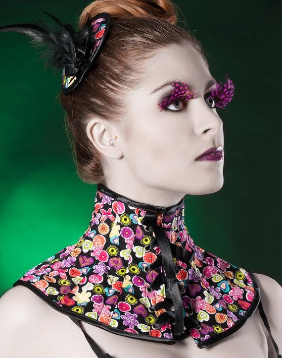 Multicolor neck corset Style Colorful Night Sample sale Gothic posture collar Fun print choker Fetish choker with black satin lacing