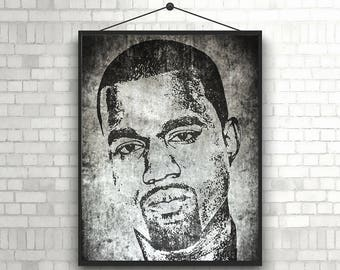 Kanye Poster Kanye Art Kanye Print Printable Download Kanye Wall Art Home Decor Gift Idea American rapper Poster Instant Download