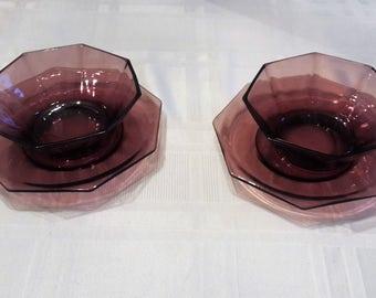 Amethyst Purple Glass Hazel Atlas Morrocan Dessert Bows pair