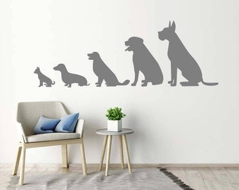Animal Wall Stickers   Line Of 5 Dogs, Animal Wall Decals, Home, Kids Part 11