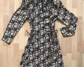 Vintage 90s Floral Lace Up Dress Babydoll Grunge / Size S/M