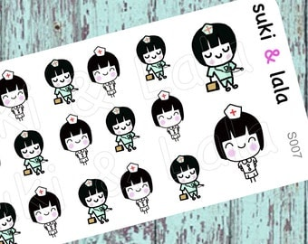 Suki and Lala - NURSE stickers, NURSE Planner Stickers, Doctor Planner Stickers, Kawaii Stickers, Hospital planner stickers (S007)