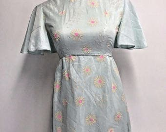Vintage 60s Mod Flutter Blue Pink Flocked Daisy Flower Power Maxi Prom Gown S/M
