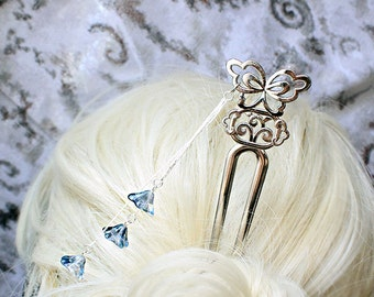 bridal hair jewelry blue wedding butterfly hair fork bridesmaid gifts flower girl gift hair accessories blue gifts bride silver gifts h31