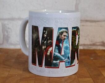 Marvel Mug, Marvel Superhero, Marvel Font Mug, Gift, Birthday