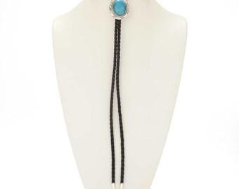 Turquoise Bolo Tie Handmade Navajo Silver Accessory