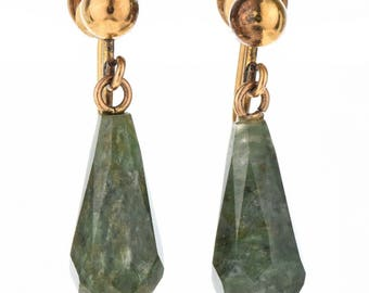 Victorian Style 14K Gold Jade Earrings Vintage Screw On Dangles