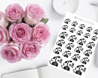 MINI SHEET -Phone CALL Reminder Planner Stickers - Black Rotary Telephone Stickers