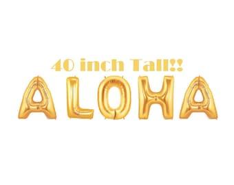 Luau Party, Aloha Party, Tropical Decor, Pool Party, Luau Decor, Summer Party, Aloha Banner, Giant Gold Balloons, Letter Balloon, Gold Party